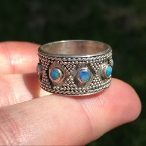 Opal and sterling silver vintage boho ring